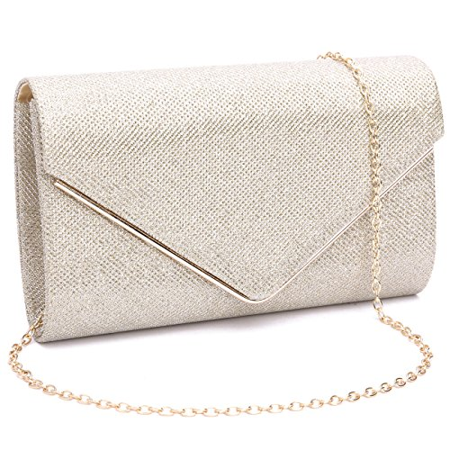 Labair Womens Shining Envelope Clutch Purses Glitter Evening Bag Handbags For Wedding and Party,Light Gold,Small.