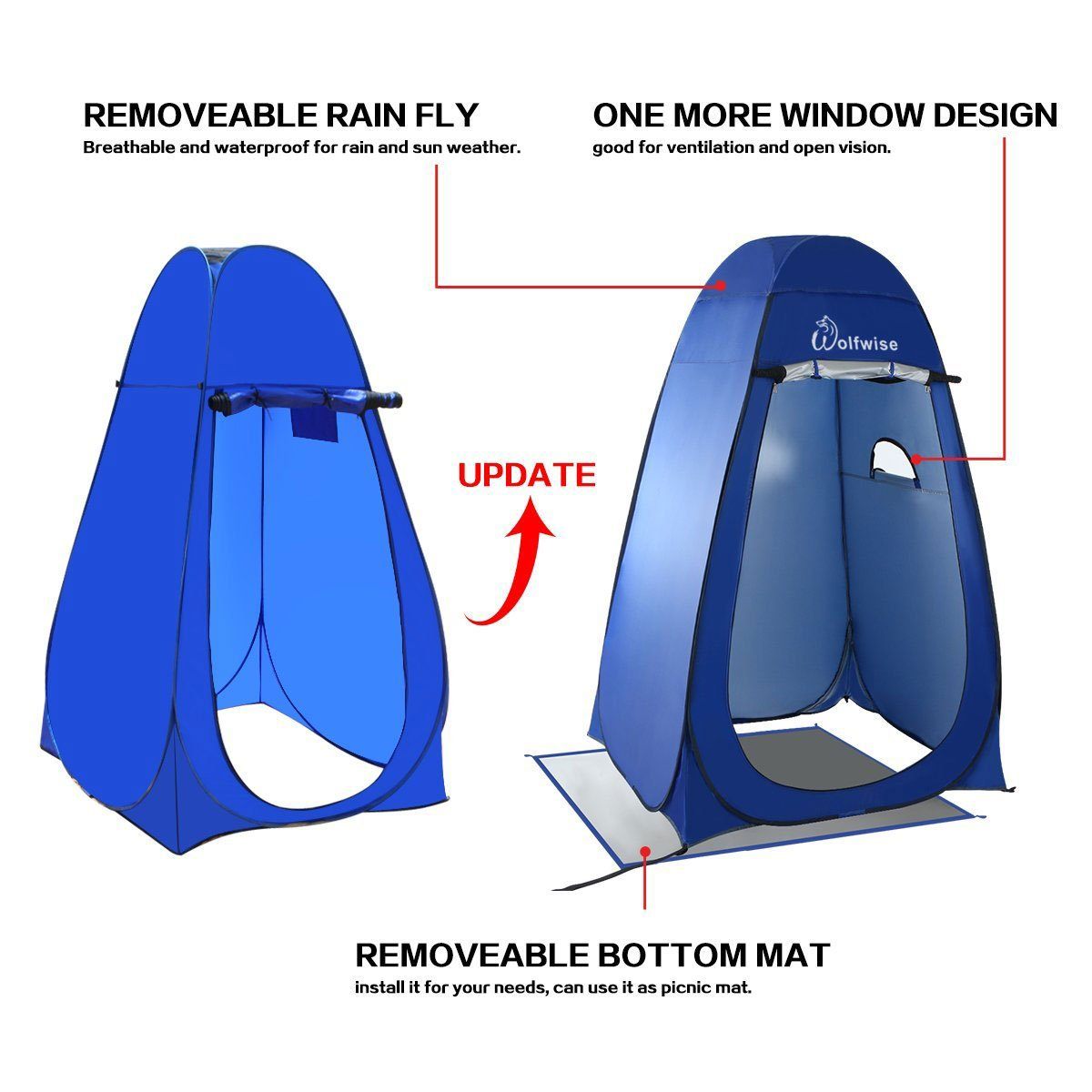 Wolfwise Pop Up Privacy Portable Camping Biking Toilet