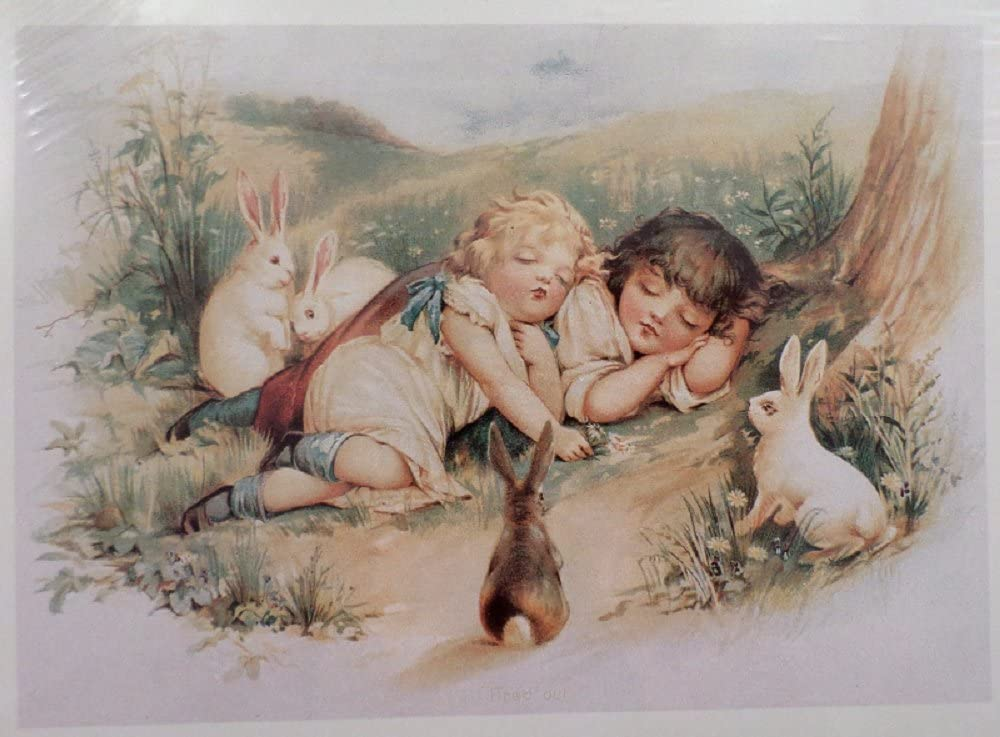 Victorian Lithograph Print Angels Hovering Over A Sleeping Child Babe Girl