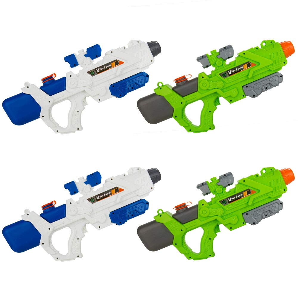 4 Pack Ultra Water Blaster Pump Action Single Barrel Water Gun Toy (White Green) with High Pressure 32 ft Range, 1200cc Large Capacity for Beach, Lake, Swimming Pool, Party, Games, Outdoor Activities by BestPriceCenter
