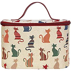 Cheeky Cat Print White and Red Tapestry Round Large Cosmetic Bag Travel Makeup Organiser Case with Handle Holder by Signare (TOIL-CHEKY)