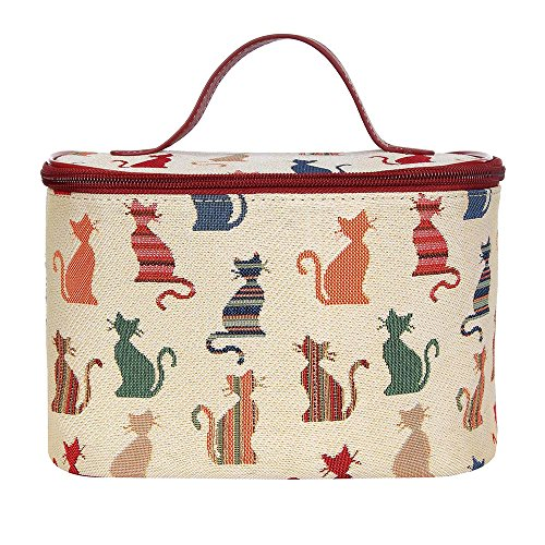 - Cheeky Cat Print White and Red Tapestry Round Large Cosmetic Bag Travel Makeup Organiser Case with Handle Holder by Signare (TOIL-CHEKY)