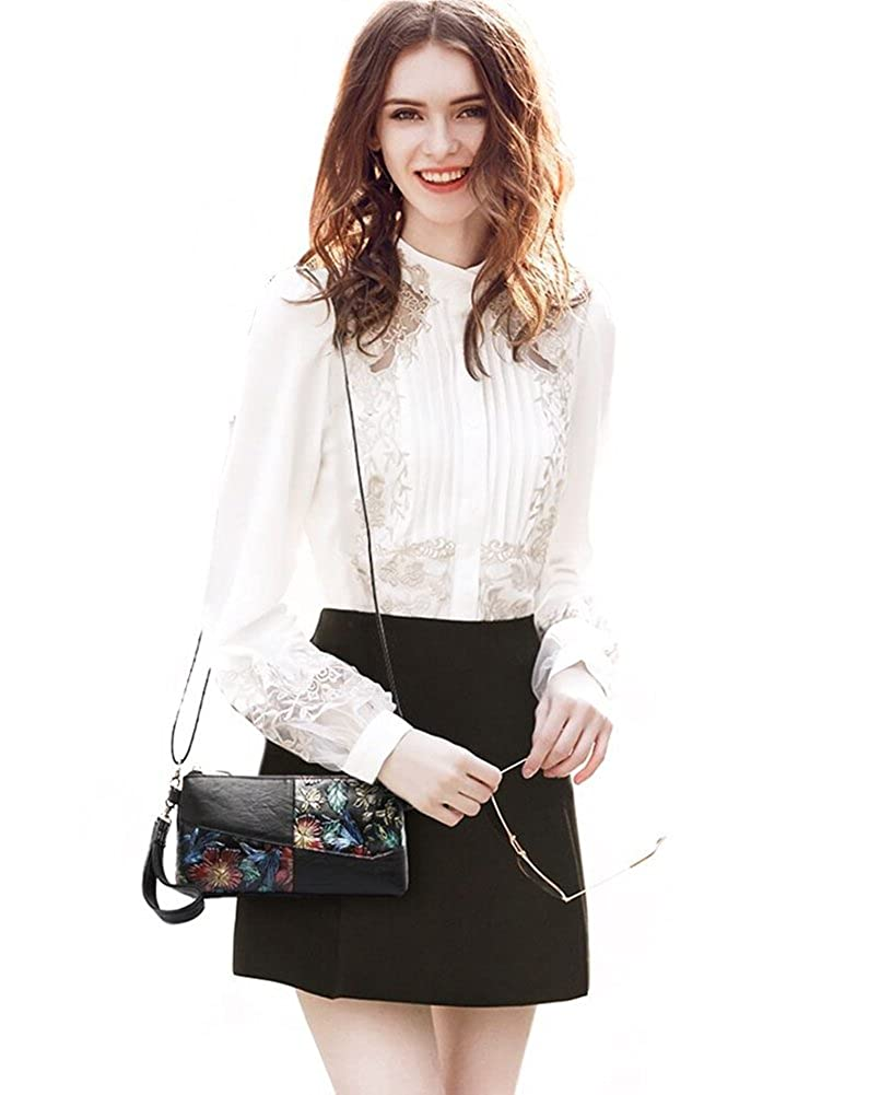 Queenmart Womens Soft PU Leather Clutch Handbag Crossbody Bags with Coloured Drawing