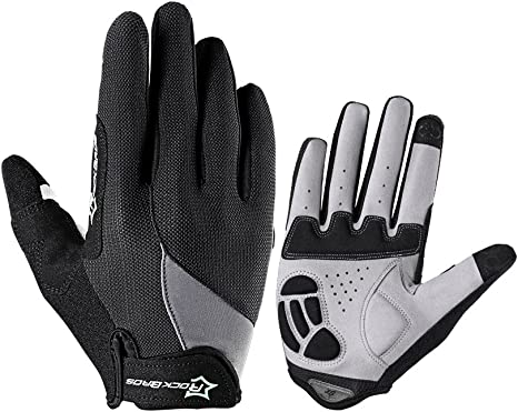 RockBros Full Finger Cycling Sporting Gloves Touch Screen Phone Gloves Black