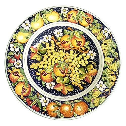 CERAMICHE D'ARTE PARRINI - Italian Ceramic Art Pottery Hand Painted Plate Flat Dish Decorated Fruit Made in ITALY Tuscan