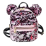Women Girl's Sequin Backpack Cute Mini Fashion Backpack Ears Bowknot Shoulder School Bag(Pink)