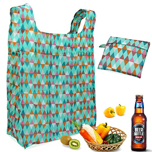 Reusable Grocery Bags Set of 3, Aiduy Reusable Shopping Bags Grocery Tote Bags Foldable into Attached Pouch Ripstop Polyester Eco Bags Washable Durable and Portable