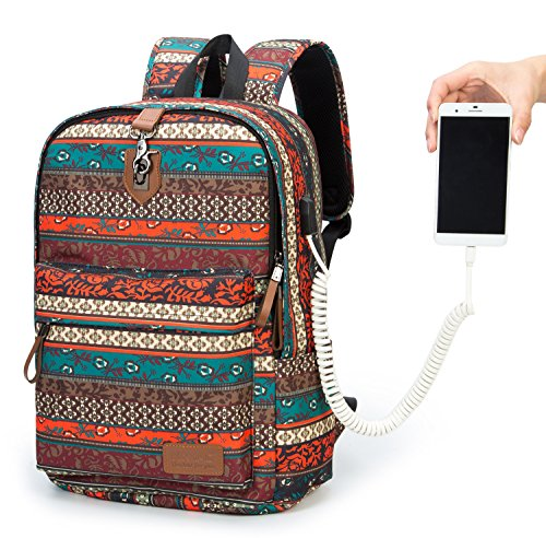 Kinmac New Bohemian Anti Theft Student Outdoor Travel Backpack Water Resistant Laptop Backpack 15 inch-15.6 inch With USB Charging Port
