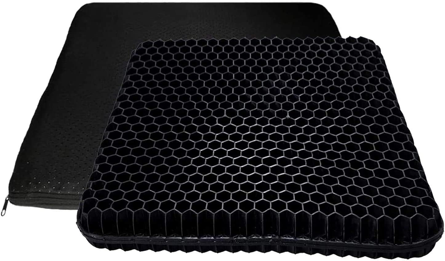 Gel Seat Cushion, 2020 The Latest Large Size Honeycomb Design Cushion Double Thick Seat Cushion with Non-Slip Cover Super Breathable Gel Cushion for Back Painr Home Office Chair Car Wheelchair(Black)