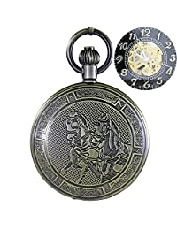 OGLE Waterproof Retro Bronze Horse Chain Black Fob Self Winding Automatic Skeleton Mechanical Pocket Watch