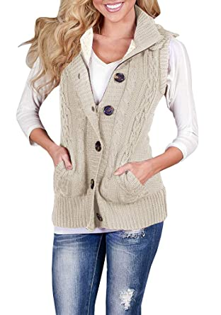 Mafulus Womens Hooded Sweater Button Down Vest Loose Cable Knit