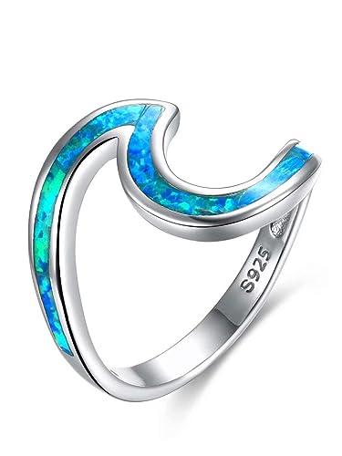 homme En Qings Vague Femme Pour Sterling Bleue bague Argent 925 Opale Bague Avec kZuXPi