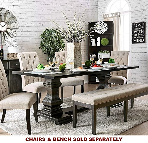 Nerissa Antique Black Solid Wood Dining Table by Furniture of (Mission Trestle Dining Table)