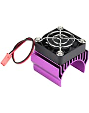 RC Motor Heat Sink with Cooling Fan, RC Heat Sink Cooling Fan for 1/10 Scale Electric RC Car 540/550 / 3650 Motor Replacement Upgrade Part Accessory(Purple)