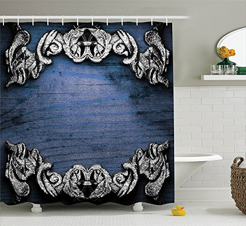 [Victorian Decor Shower Curtain Set Iron Ornament onWooden Background Great Britain Gothic Revival Art Peace Print Bathroom Accessories Silver Dark] (Britain Costume Ideas)