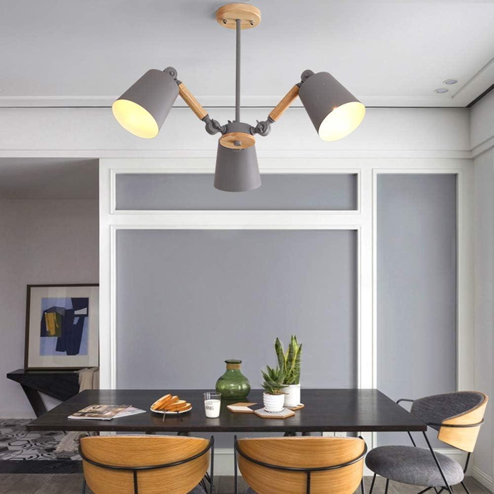 CUICANH Moderne Lustres Restaurant E27 Nordique Fer Pourg/é Montage semi-encastr/é Ajustable Bois Suspensions Pour Salon Chambre Luminaire-noir-5 lumi/ère 98x42cm