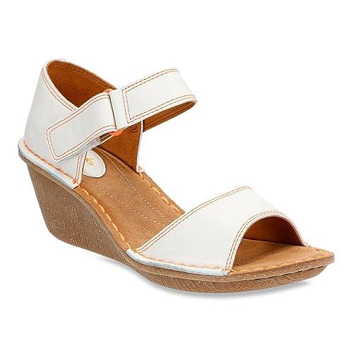 Clarks Women's Orient Sea White Leather Sandal 12 B (M