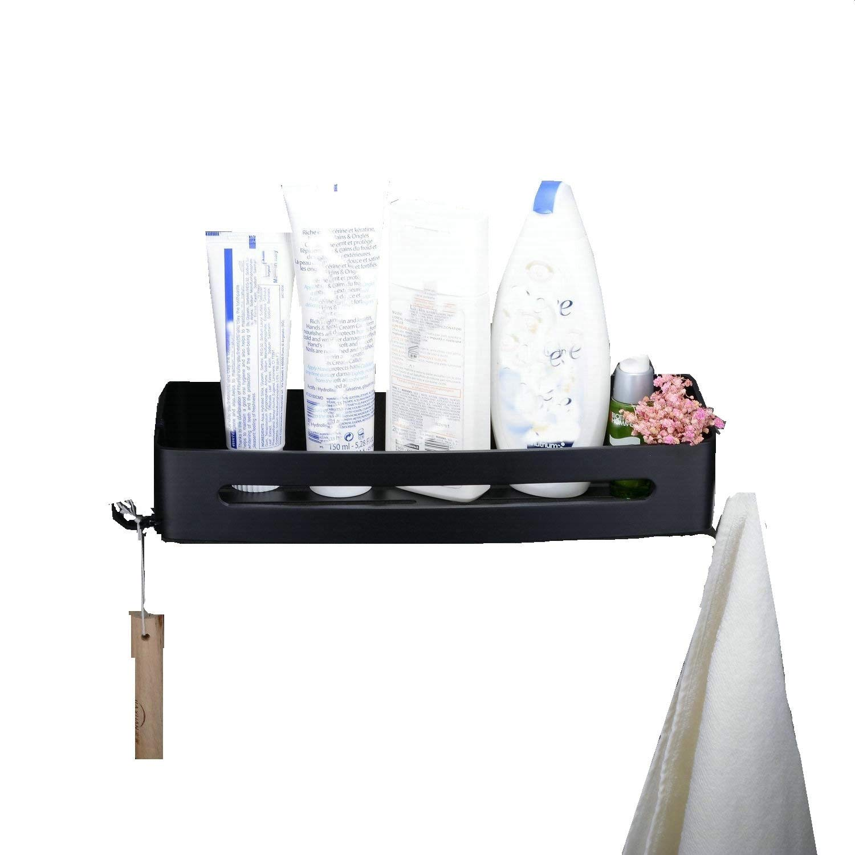 Panier de rangement accessoires de cuisine de salle de bains installation de coin en aluminium noir Leekayer LK1010AB
