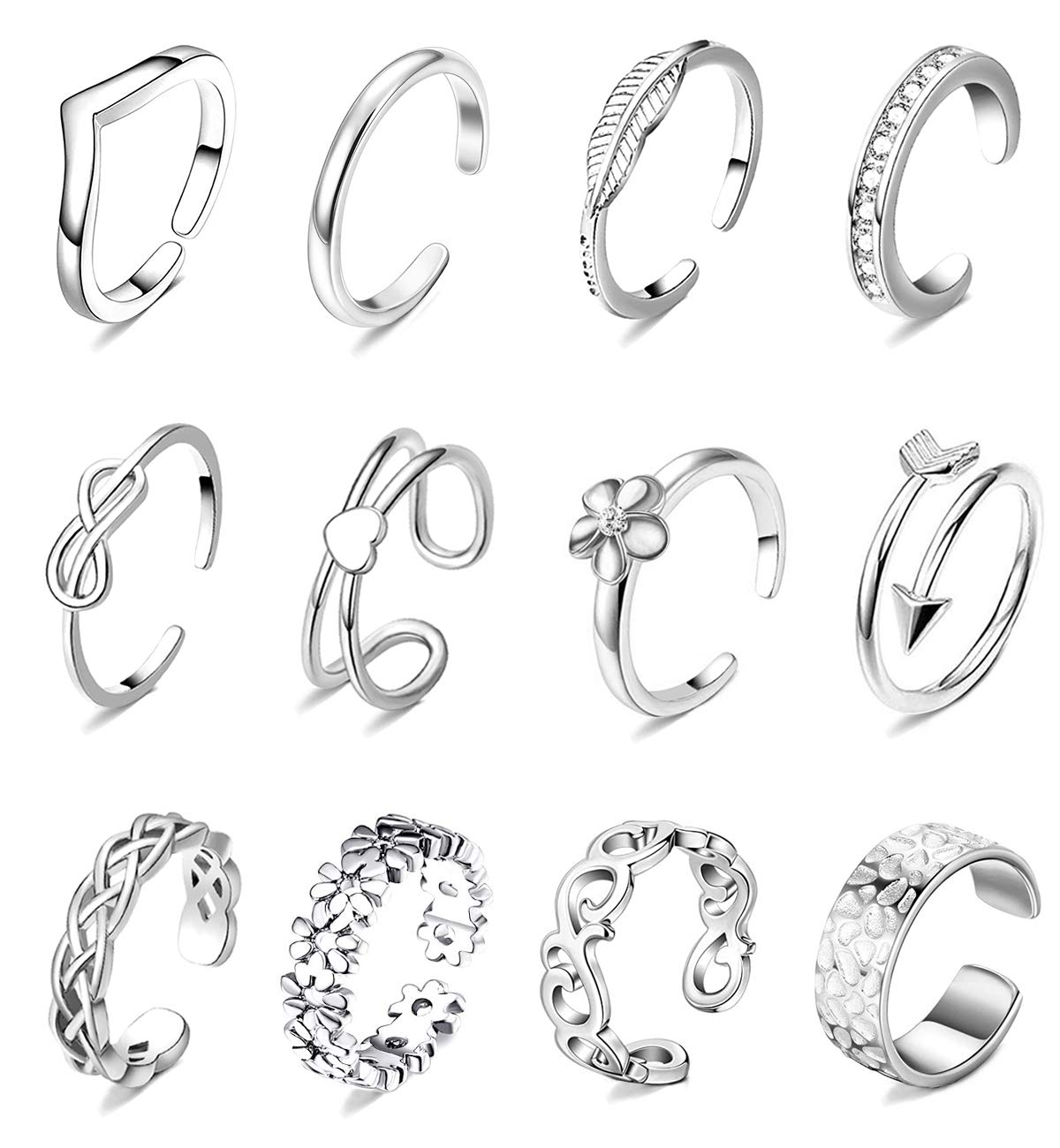 WFYOU 12PCS Adjustable Toe Rings for Women Silver Rose Gold Open Toe Ring Set Beach Foot Jewelry Tail Ring
