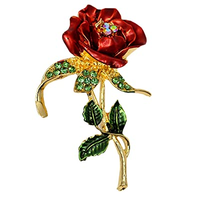 Costume Jewellery The Cheapest Price Women Rhinestone Red Rose Flower Brooch Pin Wedding Party Jewelry Gift Kindly