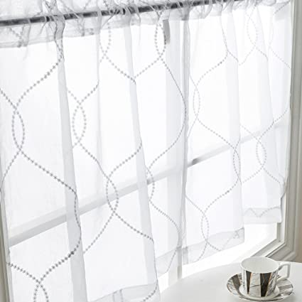 Sheer Kitchen Curtains 2 Pcs Moroccan Trellis Pattern Embroidered Semi  Sheer White Kitchen Tier Curtains 24 inch for Bathroom
