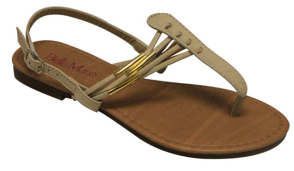 Bella Marie Fortune-1K Kids T-strap golden decor adjustable ankle strap sandals Emerald 3