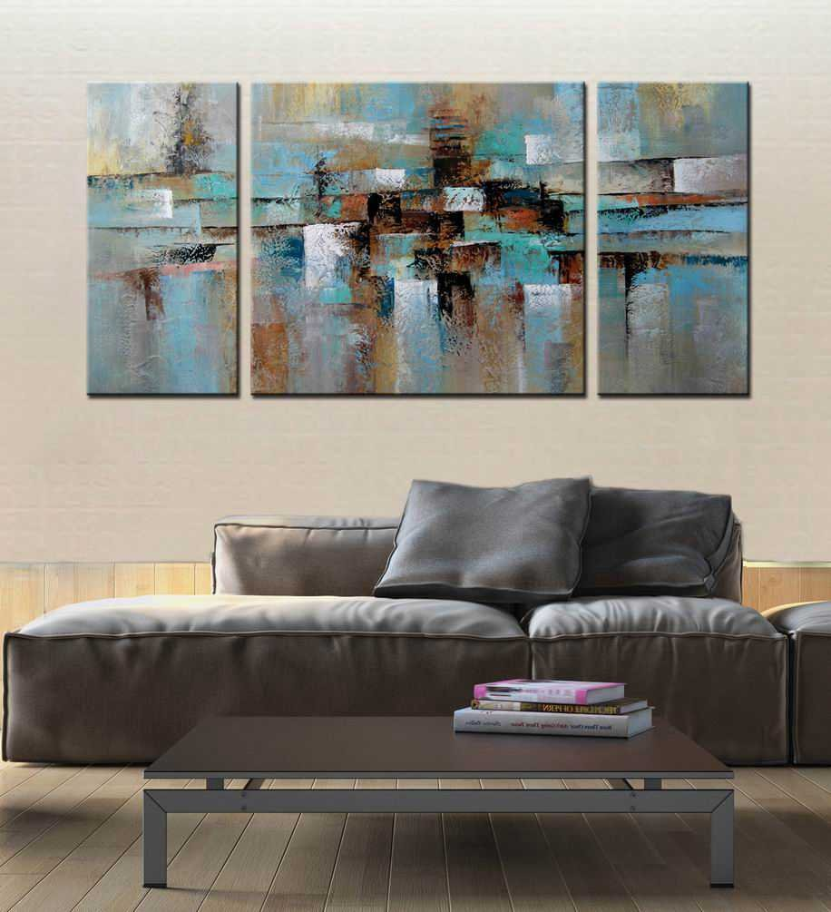 ARTLAND Hand-painted ''Abstract Tone'' Oil Painting on Canvas Gallery-wrapped Wall Art Decor Home Decoration 3-piece 30x60inches by ARTLAND