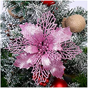 "GL-Turelifes Pack of 12 Glitter Artificial Poinsettia Flowers Christmas Wreath Christmas Tree Flowers Ornaments 6""(16cm) Diameter with 12 Pcs Green Soft Stings (Pink)"