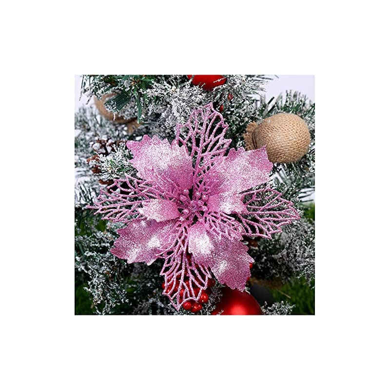 silk flower arrangements gl-turelifes pack of 12 glitter artificial poinsettia flowers christmas wreath christmas tree flowers ornaments 6''(16cm) diameter with 12 pcs green soft stings (pink)