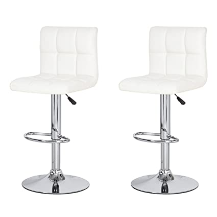 Fabulous Asense Cha016 2 White Leatherette Adjustable Barstool Air Lift Chair With Back Set Of Two Machost Co Dining Chair Design Ideas Machostcouk