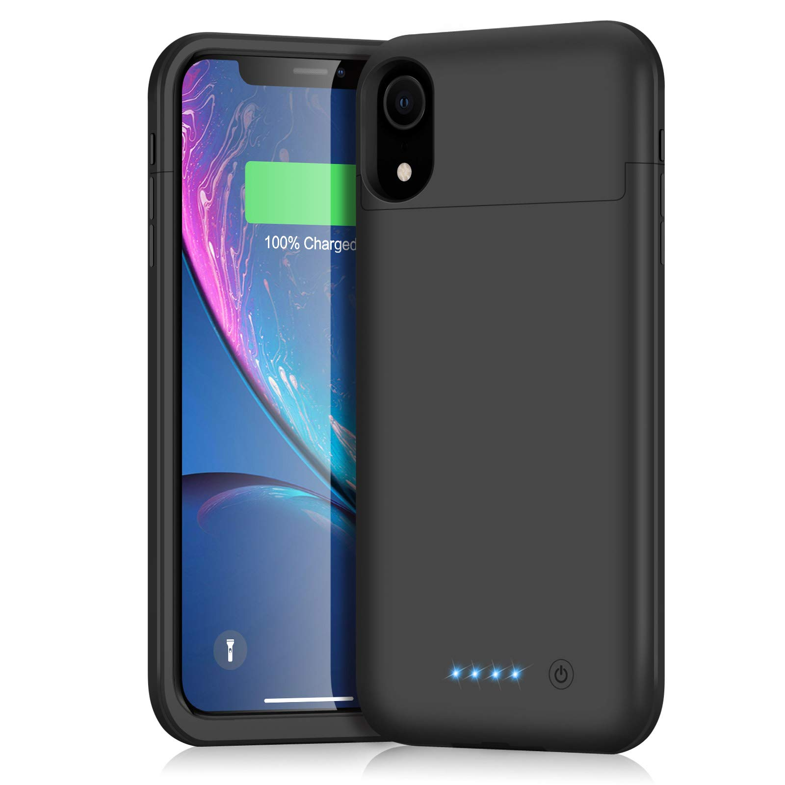 Battery Case for iPhone XR, iPosible 5500mAh Portable Rechargeable Charging Case Extended Battery Pack for Apple iPhone XR (6.1 inch) Protective Backup Cover Charger Case Power Bank-Black