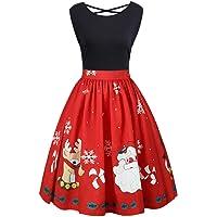 Women Vintage Plus Size Christmas Dress, Sexy Sleeveless Crisscross Back Santa Reindeer Printed Retro 1950s Rockabilly Evening Party Swing Dresses