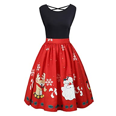 Women Vintage Plus Size Christmas Dress 55537aa15cf3