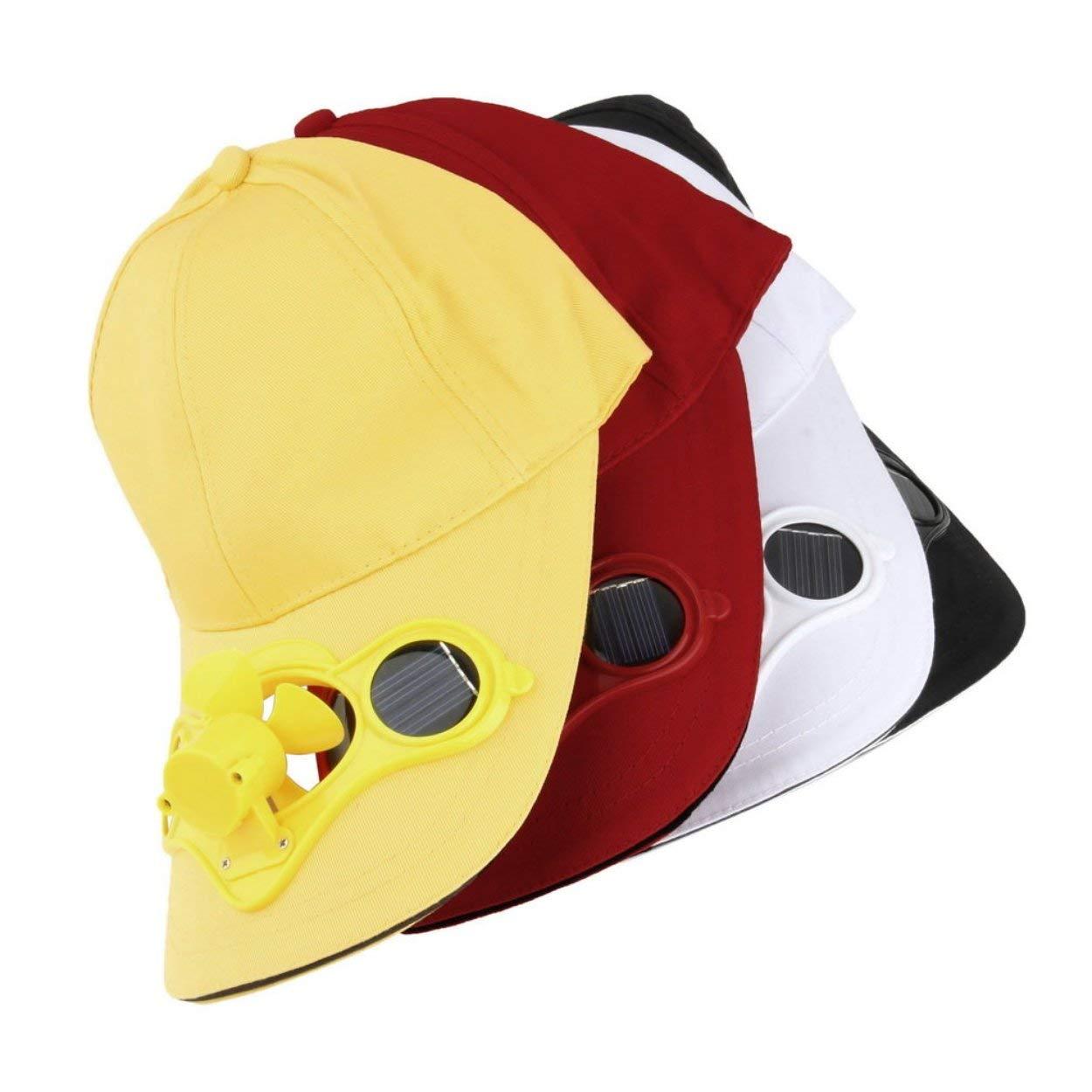 P/êche en Plein Air Sport Chapeau en Plein Air avec Puissance Solaire Solaire Ventilateur Frais pour Le V/élo /Économie D/énergie Pas de Batteries Requises