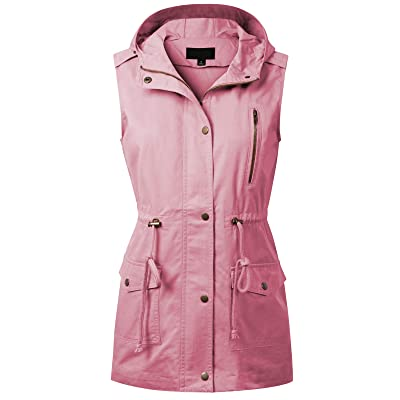 MixMatchy Women's Drawstring Lightweight Loose Fit Sleeveless Vest Utility Jacket: Clothing