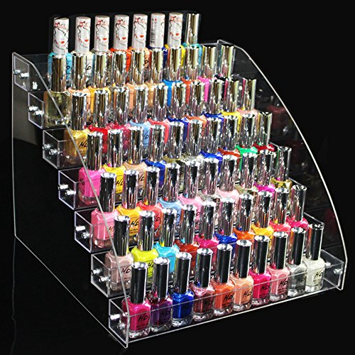 Acrylic Transparent Rack - TEERFU Acrylic Nail Polish Display Rack, 7 Tier Nail Holder Storage Organizer,Transparent Cosmetic Makeup Organizer for Nail Polish, Lipstick, Brushes, Bottles. Clear Case Display Holder Stand