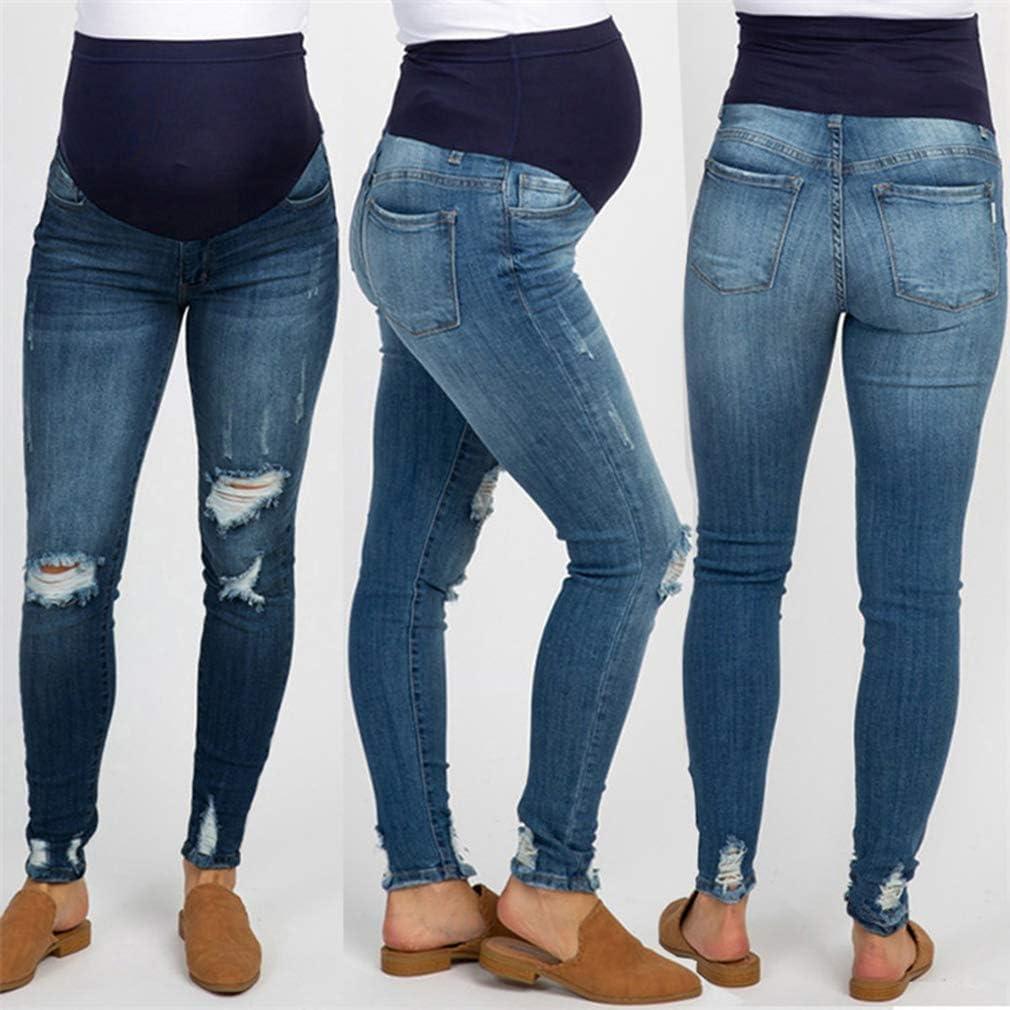 Yunhou Jeans Premaman Pantaloni Strappati Elasticizzati Jeans Primavera Estate Pantaloni Premaman Pantaloni da Leggings con maternit/à Waistband