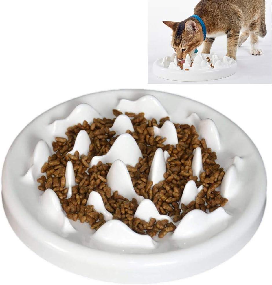 Real Pet Slow Feeder Bowl Ceramic Fun Interactive Feeder Bloat Stop Cat Bowl Preventing Feeder Anti Gulping Healthy Eating Diet Pet Bowls Against Bloat, Indigestion
