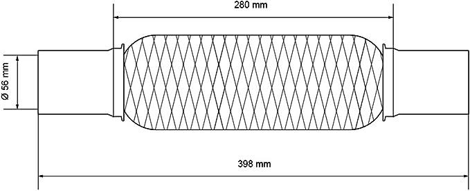 ECD-Germany Tuyau Flexible pour /échappement Auto Verrouillage en Acier Inoxydable de 61 x 280 mm avec des Pinces