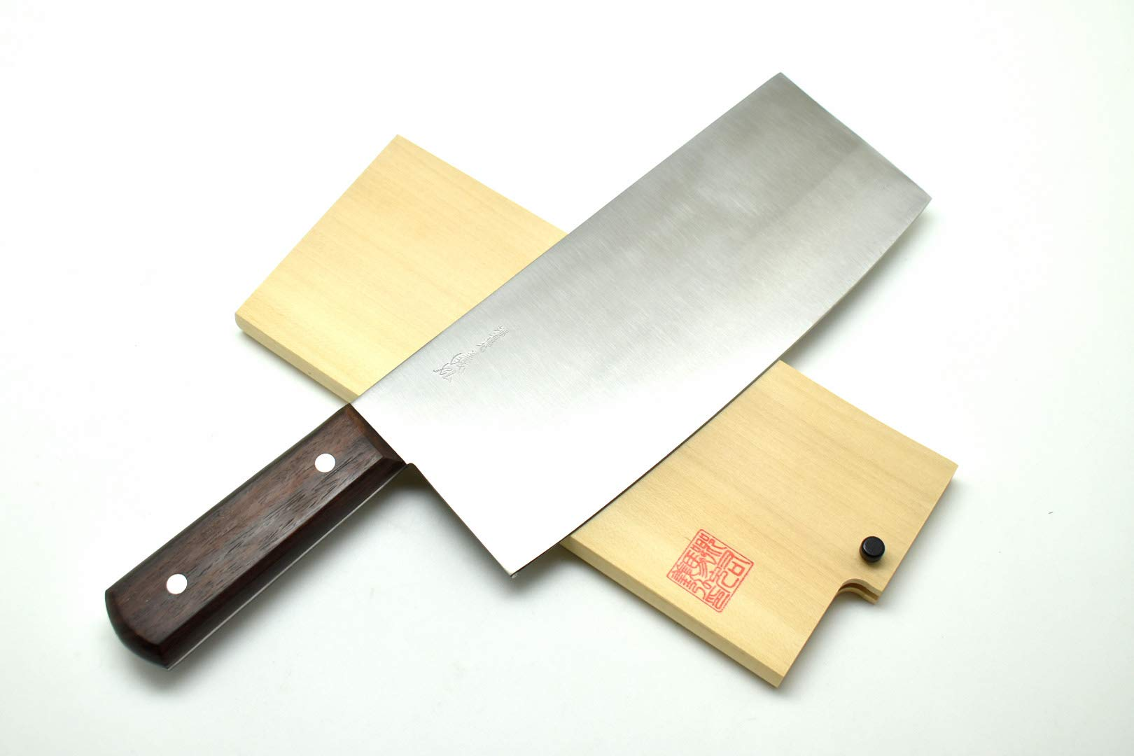 Yoshihiro Hi-Carbon Japan Steel(SK-4), HGB Chinese Cleaver Knife 220mm/8.7'', with Wooden Saya Cover by Yoshihiro