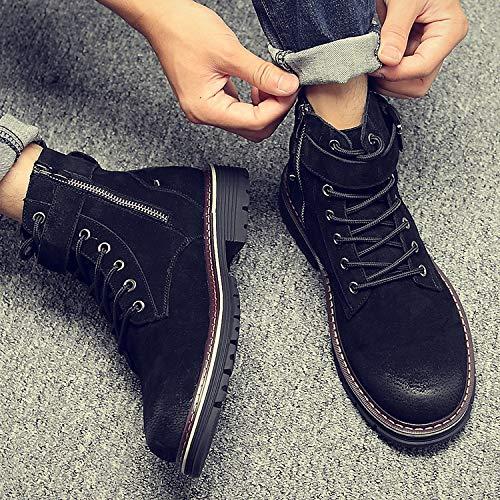 Shukun Herren Stiefel Martin Stiefel Herren Winter Herbst vielseitiger Reißverschluss Baumwolle zu hohen Stiefel Stiefel Tooling Schuhe zu helfen  | Deutschland Shops
