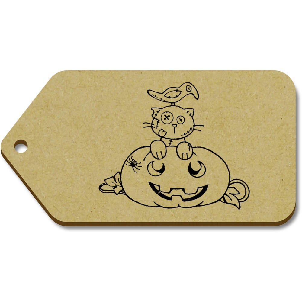 Azeeda 10 x Grand 'Chat d'halloween' etiquettes de Bagage / Cadeau en Bois (TG00069144)