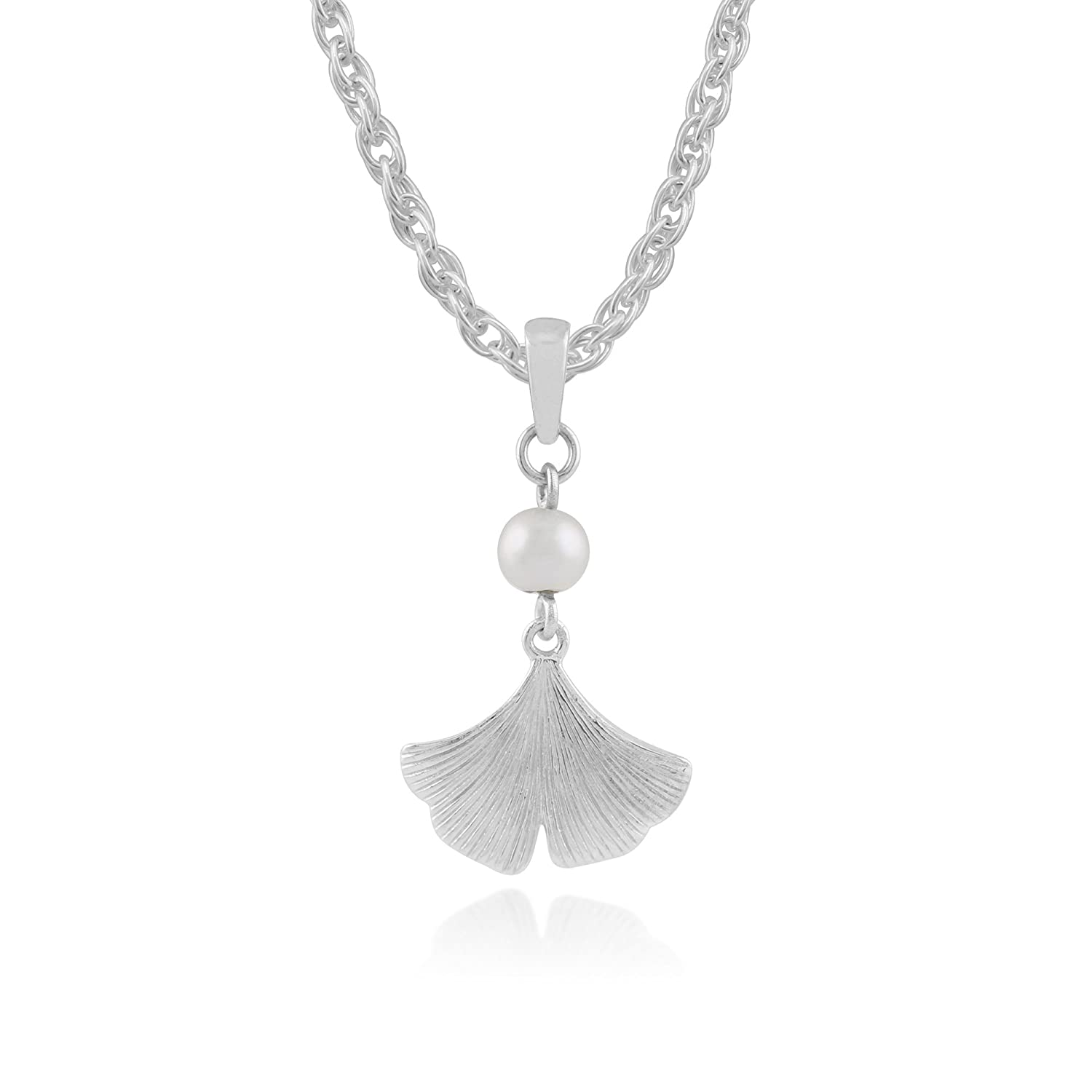 925 Sterling Silver Ginkgo Flower 0.29ct Cultured Pearl Pendant on Chain