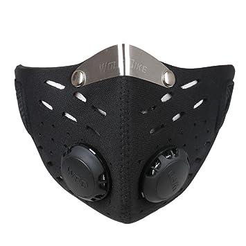Ewolee Mascara Anticontaminacion - Mascara Neopreno, Mascara Antipolucion con Filtro para Motocicleta Bicicleta Ciclismo Esquí
