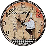 GK-Mediterranean Retro American Great Living Room Wall Clocks European Pastoral Simple Classical Decorative Silent Lighthouse Wall Watch,24inch 60CM