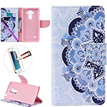 LG G4 Stylus LS 770 Case, ISADENSER Premium Mobile Cover Protect Skin Leather Cases Covers With Card Slot Holder Wallet Book Design For LG G Stylo LS770, Half Flower