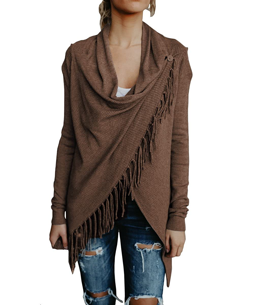 Klousilover Womens Lightweight Sweater Knit Shawls Wrap Outwear Cape Open Front Cardigan