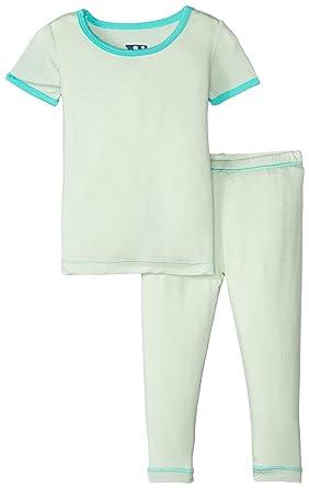 dd967bce8 Amazon.com  Kickee Pants Baby Boys  Solid Short Sleeve Pajama Set ...