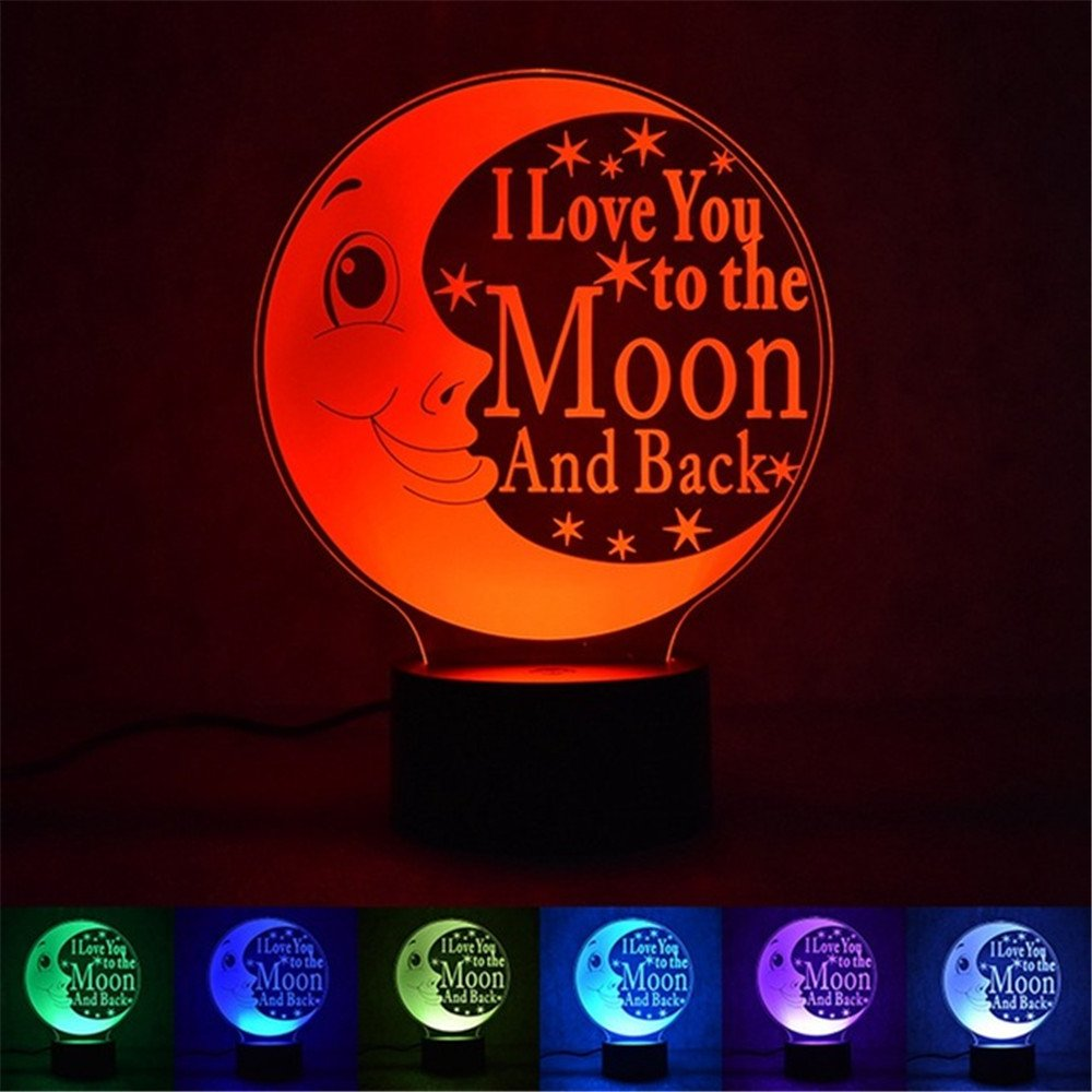 Leagway 3D LED Optical Illusion Night Light, I Love You to the Moon and Back LED Color Changing Desk Table Lamp Gift For Mom, Dad, Grandma, Husband, Wife, Children, Friends, Christmas Gift