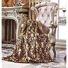 "Lindsey Home Fashion Faux Fur Throw, Fur Blankets Super Soft Japanese Kanekalon Fiber, Sheepskin, Mink, Wolf, Bear, 60""x80"", 60""x70"", 50""x60"" 14 Colors (60x60(INCH), Beige Leopard)"